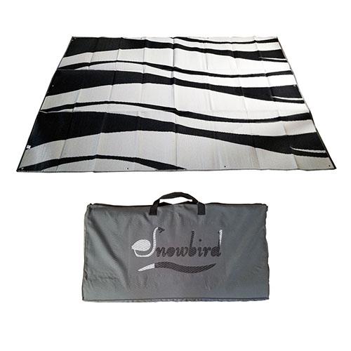 Snowbird 9 X 18 Wave Design Patio Mat Black//Silver